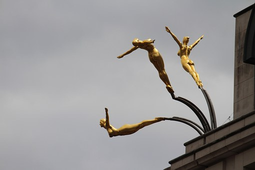 Three Graces, Bronze, Statue, Diving, Females