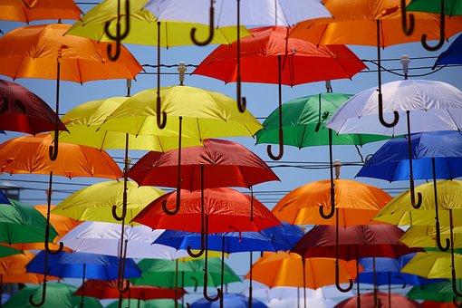 Colorful, Colourful, Hd Wallpaper, Umbrellas