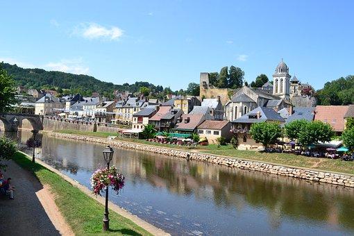 Village, River, Houses, Dordogne, Montignac, Périgord