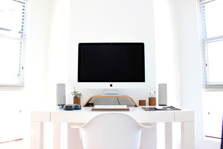 Apple, Chair, Computer, Desk, Keyboard, Table