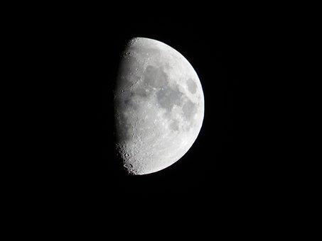 Luna, Night, Half, Sky, Gray