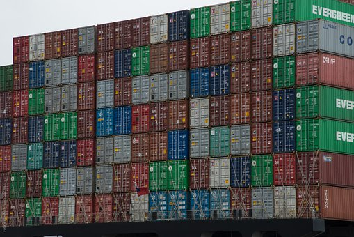 Container, Freighter, Container Ship, Port, Most, Cargo