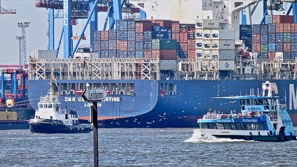 Container Ship, Port, Hamburg, Elbe, Container, Tug