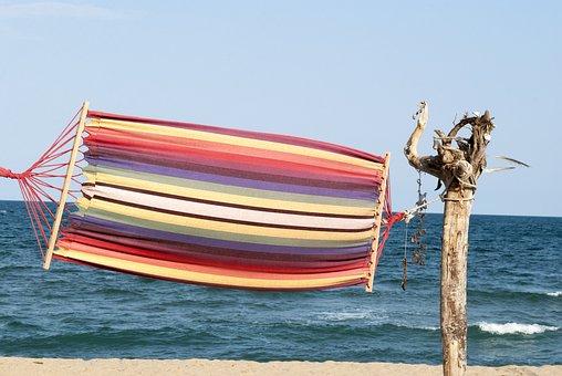 Hammock, Streaky, Beach, Sea, Variegated, Vacation