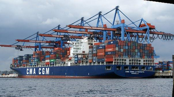 Hamburg, Port, Container, Ship, Terminal, Burchardkai