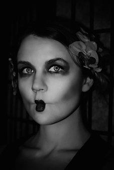 Woman, Geisha, Flower, Makeup, Model, Girl, Sexy, Mode