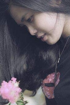 Portrait, Girls, Flower, Avatar, Shot From The Side