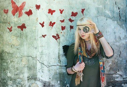 Hippie, Butterflys, Colour, Happy, Hippy, Retro, Symbol