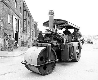 Tractor, Steam Roller, Equipment, Roller, Road, Work