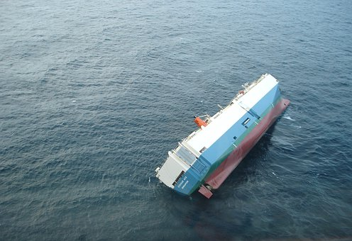 Ship, Capsized, Listing, Turned Over, Sea, Ocean, Water