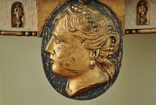 Head, Portrait, Woman's Head, Carving, Art, Antique