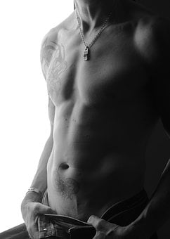 Man, Body, Tattoo, Abs, Breast, Black And White, Naked
