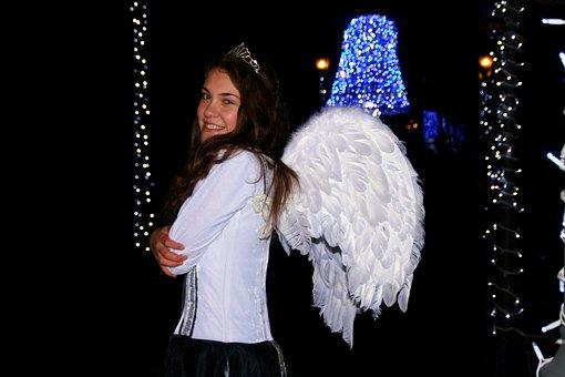 Girl, Princess, Angel, Wings, Lights, Night, Winter