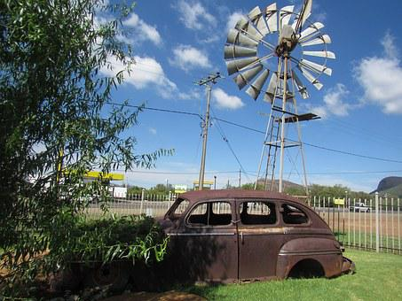 Vintage Car, Old, Wind, Pump, Rusted, Sky, Clouds