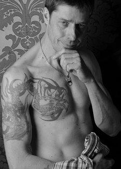 Tattooed Man, Tattoo, Portrait, Man, Body, Abs, Breast