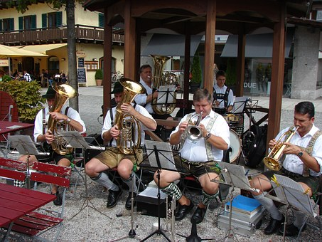 Brass Band, Music, Bavaria, Tuba, Costume, Blowers