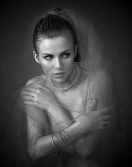 Girl, Tulle, Studio, Portrait, Character, Hands, Look