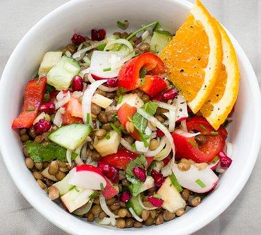 Salad, Lenses, Vegetables, Vegetarian, Vegan, Frisch