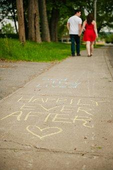 Chalk, Sidewalk, Couple