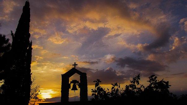 Sunset, Clouds, Sun, Sunlight, Shadows, Belfry, Church