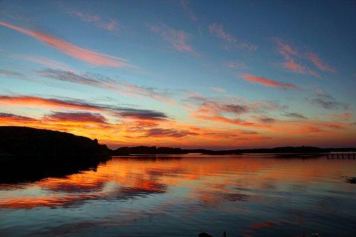 Sunset, Sweden, Nordic, Sea, Water, Abendstimmung, Lake
