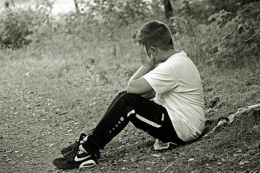 Boy, Child, Sad, Alone, Sit, Sitting On Jacket, Forest