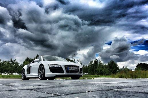 Audi, R8, Sports Car, Thunder, Thunderstorm, Flash
