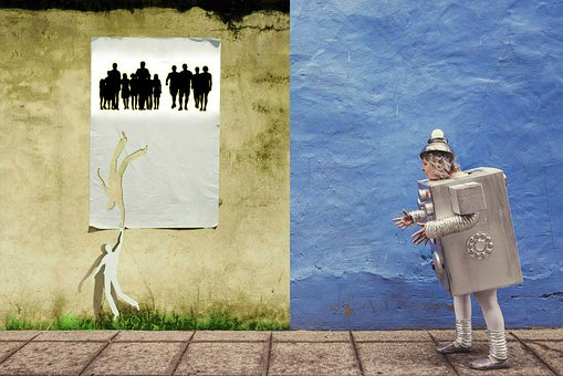 Wall, Gray-blue, Poster With Paper People, Lonely Robot