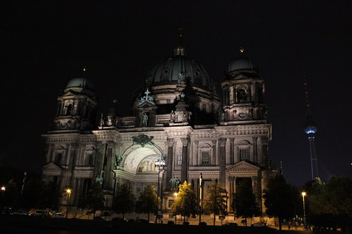 Berlin Cathedral, Night, Berlin, Lighting, Building