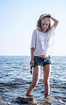 Girl, Sea, Black Sea, Model, Shorts, Horizon, Summer
