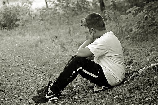 Boy, Child, Sad, Alone, Sit, Sitting On Jacket, Forest