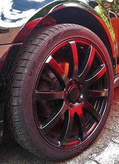 Auto Tires, Sky Is Reflected In The Lacquer, Wheels