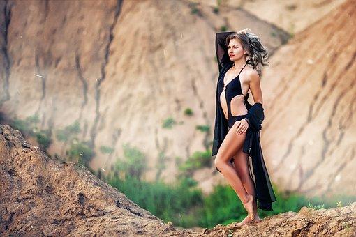 Girl, Quarry, Summer, Model, Bikini, Sexy, Black Dress