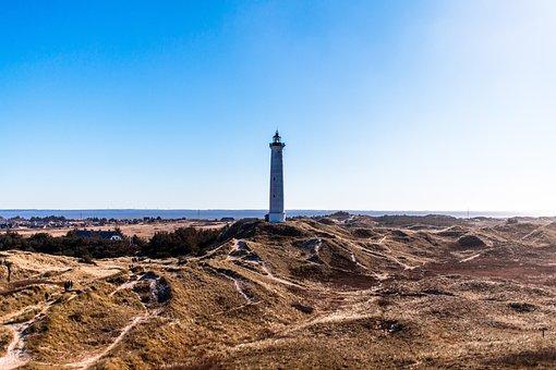 Lighthouse, Blue Sky, Coast, Sand Dunes, Denmark