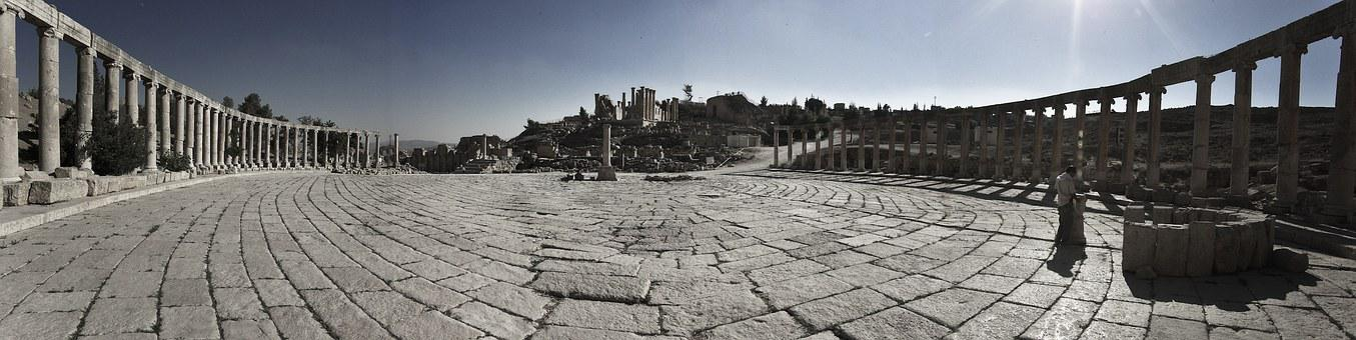 Ruins, Greek, Historic, Jerash, Colonnade, Ancient