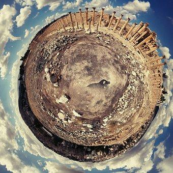 Fisheye, Jerash, Roman, City, Jordan, Ancient, Landmark