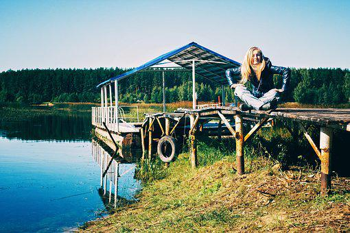 Pier, Sky, Summer, Girl, River, Russia, Nature