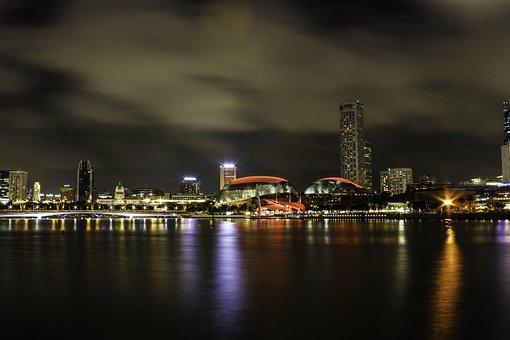Bay, Buildings, Clouds, Light, Marina Bay Sands, Night