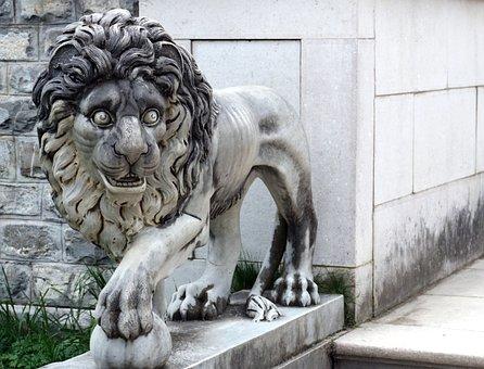Lion, Statue, Rock, Sculpture, Architecture, Animal
