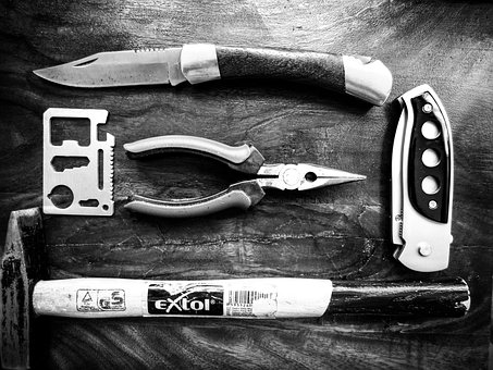 Tools, Knife, Pliers, Hammer, Manly, Items, Fashion