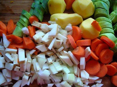 Pumpkin Soup, Ingredients, Cut, Carrots, Potatoes
