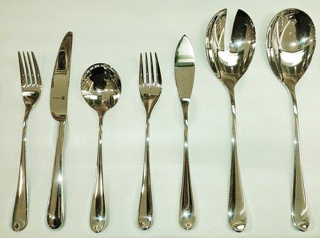 Cutlery, Knife, Fork, Spoon, Eat, Metal, Silver