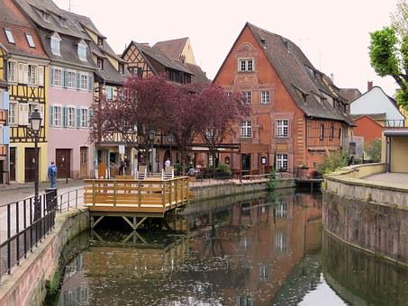 Alsace, Colmar, Facades, Pinions, Old Houses, River