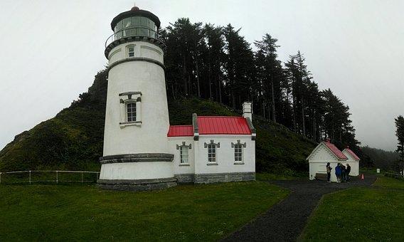 Oregon, Coast, Heceta Head, Lighthouse, Shore, Beach