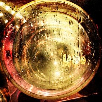 Water, Liquid, Glas, Drops, Light, Colorful, Shiny