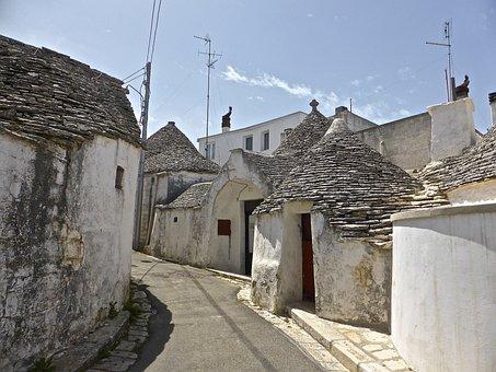 Alberobello, Houses, White, Vintage, Round, Perspective
