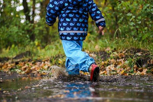 Boy, Puddle, Autumn, Raining, Leaves