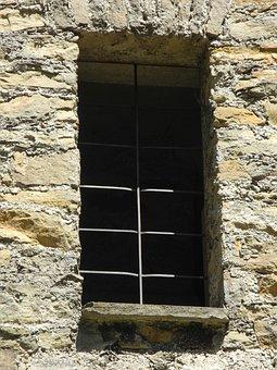 Window, Castle, Stone, Grid, Light, Shadow, Old