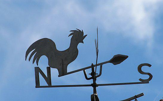 Weather Vane, Blue Sky, West, East, North, South
