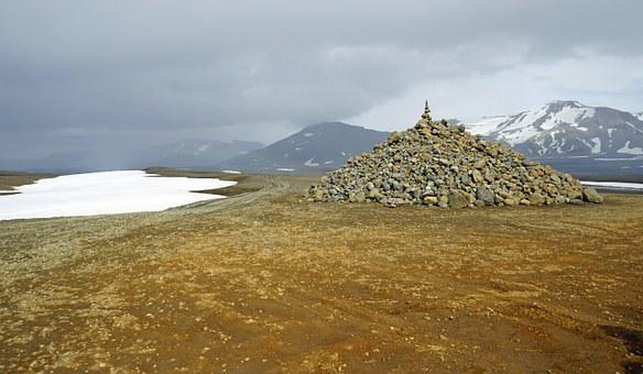 Plateau Island, Cairn, Iceland, Landscape, Stones